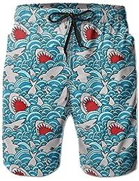 メンズ ビーチショーツ ショートパンツ サメパターン 水着 スイムショーツ サーフトランクス インナーメッシュ付き 通気 速乾