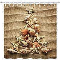 クリスマスの装飾シャワーカーテンセット、ヒトデシェル合成クリスマスツリー、ポリエステル生地風呂カーテン60×70インチ浴室セット付きフック防水 165X180 CM