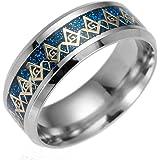 PAURO Men's Stainless Steel Black Navy Blue Enamel Freemason Masonic Ring Band 8mm