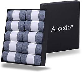 【Alcedo】 5本指靴下 メンズ ビジネスソックス 抗菌防臭 24cm~28cm 10足セット 5色展開 ( 黒 白 紺 灰 深灰 )