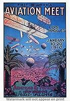 """ヴィンテージフライトReproduction Gicleeポスター"""" American &外部Aviators Daily Flights–First in America Avaition Meet、1910。」 12x18"""
