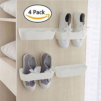 d2e045a4fd3f 壁マウントされた靴ラック4pcs with 12個 両面テープ ストリップ、プラスチック靴ホルダーストレージオーガナイザー、ドア 靴ラック