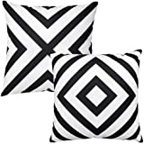 Black and White Stripe Throw Pillow Covers Farmhouse Soft Velvet Cushion Covers Pack of 2 Decorative Pillowcase, Home Decor D