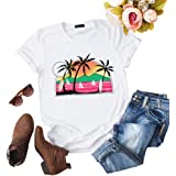 ZSIIBO Women's Casual Beach Graphic T Shirts Vintage Hawaiian Tee Funny Summer Print Tops for Youth