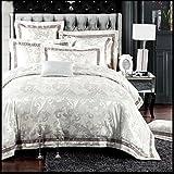 高級ジャガードのサテンの綿/キングサイズの寝具セット/シーツと枕カバー掛け布団カバー アイボリー