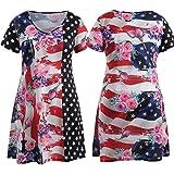 レディース ブラウス クリアランス2018American Flagレディースブラウス、Peizeプラスサイズレディースアメリカ国旗印刷シャツノースリーブカジュアルトップスファッションTシャツ XL PeiZe41