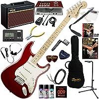 Squier エレキギター 初心者 入門 アルニコV・マグネットピックアップを搭載したストラトキャスター。 ギターの練習が楽しくなるCDトレーナー(エフェクターも内蔵)と人気のギターアンプVOX Pathfinder10が入った強力21点セット Standard Stratocaster/CAR/M(キャンディアップルレッド/メイプル指板)