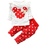 Voopptaw Baby Girls 2 Pieces Outfits Cute Printed Ruffle Long Sleeve Shirt and Pants Set