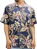 ROUSHATTE(ルーシャット) 大きいサイズ メンズ シャツ 半袖 アロハシャツ ダークネイビー LL