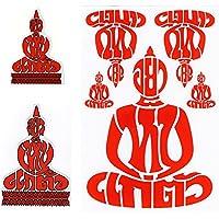 [トリプルセット] タイ王国 BUDDHA 仏像 坐禅 タイ文字 タイ語 アジアン ステッカー レッド ミックス(Red mix 3点セット) [タイ雑貨 Thailand Sticker]