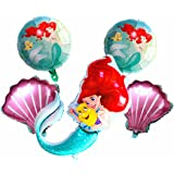 Mermaid balloon birthday party supplies-5 pieces, princess mermaid shell balloon set, suitable for princess mermaid theme par