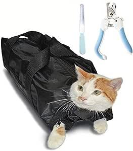 UTST 猫 ネット 袋 ペット用 爪切り ヤスリ 3点 セット キャットバッグ 保定袋 猫 おちつく つめきり 点眼 耳掃除 などに