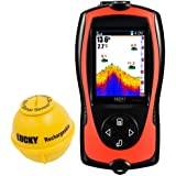 LUCKY Portable Fish Finder Transducer Sonar Sensor 147 Feet Water Depth Finder LCD Screen Echo Sounder Fishfinder with Fish A