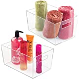mDesign Plastic Bathroom Organizer Storage Bin with Handles for Organizing Hand Soaps, Body Wash, Shampoos, Conditioners, Han