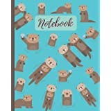 Notebook: Cute Otters Cartoon Cover - Lined Notebook, Diary, Track, Log & Journal - Gift for Boys Girls Teens Men Women (8x10