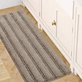 Chenille Bath Mat Non Slip Bath Mat for Bathroom Extra Thick Soft Striped Bath Rug Water Absorbent Shag Carpet for Indoor Kit