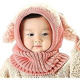 Baby Girls Boys Winter Knit Scarf Hat Warm Earflap Cap for Kids 6-36 Months