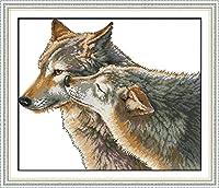 LovetheFamily クロスステッチキット DIY 手作り刺繍キット 正確な図柄印刷クロスステッチ 家庭刺繍装飾品 11CT ( インチ当たり11個の小さな格子)中程度の格子 刺しゅうキット フレームがない - 52×44 cm ウルフのキス
