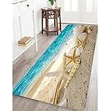 "Memory Foam Bath Mat Non Slip Bathroom Rug Absorbent Bathroom Carpet Seashells Starfish Rug Soft and Cozy 24"" X 71"""