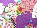ちりめん生地 和布 古布 はぎれ◆昭和レトロな大柄な花柄 紫 YS05-02(10cm)