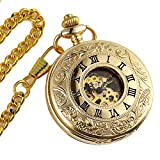 ManChda ダブル カバー ローマ数字 のダイヤル 手巻き スケルトン メンズ レディース 懐中時計 ギフト