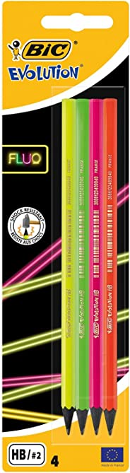 BIC Evolution Fluo HB Graphite Pencils - Pack of 4