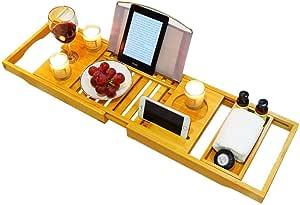 FIRIKバスタブトレー バステーブル 大サイズ バスブックスタンド 伸縮式 バスタブラック 竹製 お風呂用品