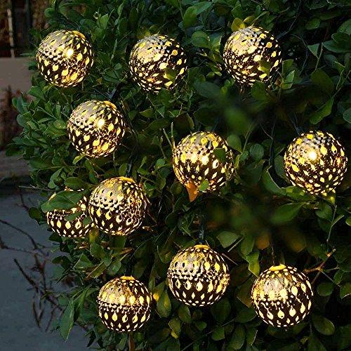 リーダーテク(lederTEK) ソーラー 防雨型 電球色 モロッコボール 電飾 イルミネーション LED 3.35m 10球 2点滅モデル クリスマス ライト 新年 飾り付け