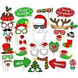 31pcsクリスマスクリスマスサンタパーティー写真ブース小道具口ひげマスクカードSupplies