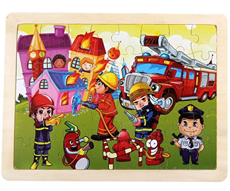 HuaQingPiJu-JP 教育木製漫画のパズルアーリーラーニングの数字の形の色の動物のおもちゃ子供のための素晴らしいギフト(ヒーロー)