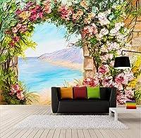 Lcymt カスタム写真壁紙3Dステレオアーチ花風景油絵壁画リビングルームの寝室牧歌ロマンチック-400X280Cm