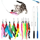 KAPASKI Cat Feather Toy, 2PCS Retractable Cat Wand Toys and 10PCS Replacement Teaser with Bell Refills, Interactive Catcher T