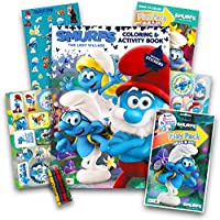Smurfs Coloring Book Set – - 2本、over 50ステッカー、クレヨンand More (パーティーSupplies )