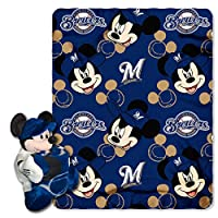 MLB Milwaukee BrewersピッチCrazy共同ブランドDisney 's Mickey Hugger and Fleece Throwセット