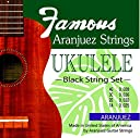 Famous(フェイマス) アランフェス弦セット(ウクレレ 弦 ブラック 黒 ソプラノからテナーサイズまで)