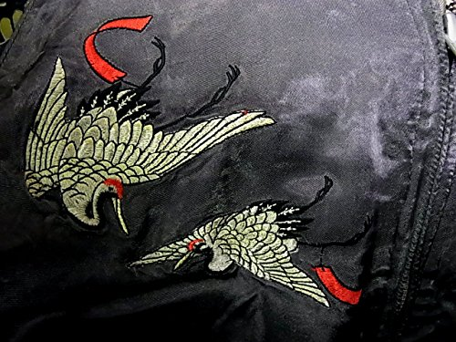 百花繚乱(ヒャッカリョウラン)鷹 鶴 和柄 総刺しゅう リバーシブルスカジャン 金 ゴールド×チャコールグレー