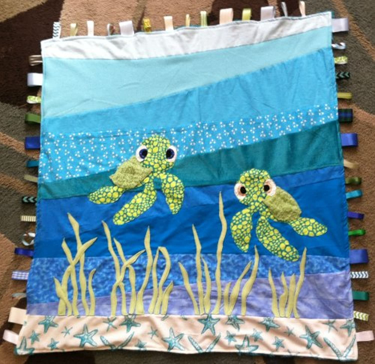 Baby Sea Turtle ~ Ribbon Baby Blanket with Ribbon Tabs 37 X 40 by Abuela Chachy's