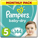 Pampers Baby-Dry Nappies Size 5 Walker (11kg to 16kg), 144 Nappies, Monthly Pack