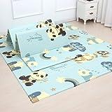 Infant Shining Playmat Baby Play Mat Foldable King Size Reversible 200x180cm, Non Toxic XPE Foam Waterproof for Kids (Panda)