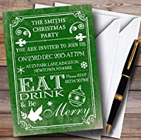 古いビンテージEat Drink Be MerryグリーンPersonalizedクリスマス新しい年/休日/パーティー招待状 10 Invitations