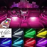 [2021 UPGRADED] Car Interior Lights WIth App Control 4pcs Million Color 72 LED Multicolor Music Car LED Strip Lights Car Atmo