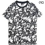 【FEB2302M】ゴーストバスターズ 半袖 総柄 プリント キャラクター クルーネック Tシャツ ハリウッド (LL, クロ)