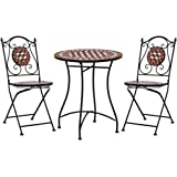 vidaXL Mosaic Bistro Set 3 Piece Outdoor Garden Patio Table and Chairs Seating Seat Sitting Dining Furniture Set Ceramic Tile