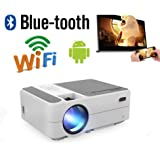 Wireless Portable Projector with WiFi Bluetooth HDMI SD Card USB VGA AV Audio Port Speakers Multimedia, LED Lamp/LCD Screen,
