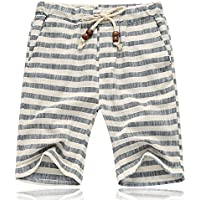 Banana Bucket Men's Summer Casual Linen Drawstring Striped Beach Shorts