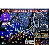 HUIMEILI  太陽発電 ソーラー 充電式 LED イルミネーション 【赤青黄緑・計200球】 21m 光センサー内蔵 自動ON/OFF クリスマス イルミ