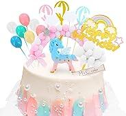 DUOUPA ケーキトッパー 誕生日ケーキ飾り ユニコーン 風船 ケーキ挿入カード(16点セット)