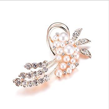 BEE&BLUE ダイヤモンド 合金 パール ブローチ 女性 ウェディングアクセサリー コサージュ スカーフバックル