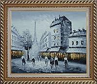 "BeyondDreamフレーム入り油彩画20"" x24"" Vintage Paris At Dusk In A Street with Eiffel Tower背景ブラックホワイト都市景観印象派でエレガントなフレーム"