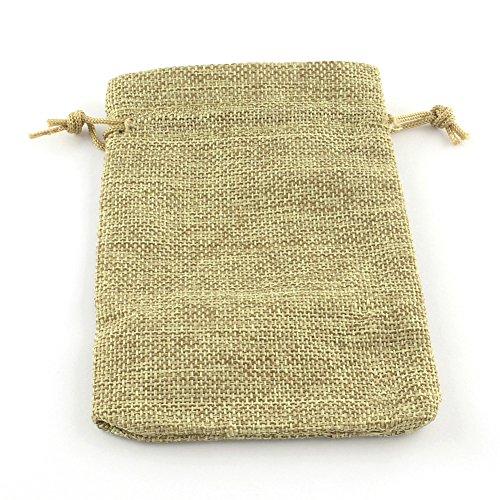 PandaHall 10枚セット 和風 コットン 麻 布 巾着袋 ラッピング袋 ギフトラッピング ジュエリーポーチ バッグ プレゼント用 収納袋 枯れ色 9x7cm